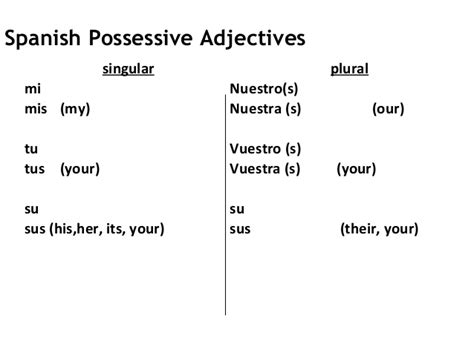 my house is your house in spanish spanish possesive adjectives