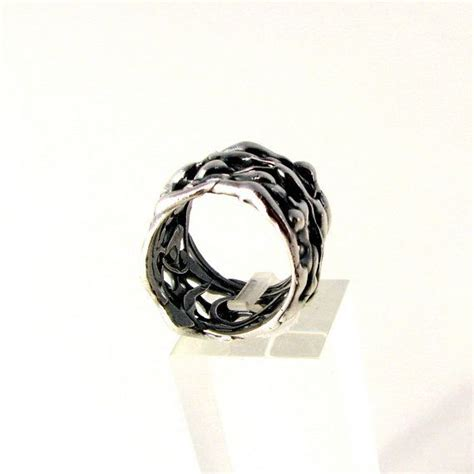 organic wedding band for sterling silver wide ring