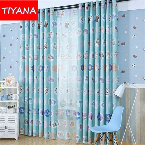 kids curtains boys eco friendly window curtains cartoon animals forest
