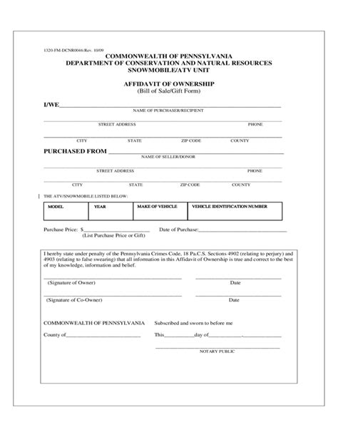 bill of sale template for atv atv or snowmobile bill of sale form pennsylvania free