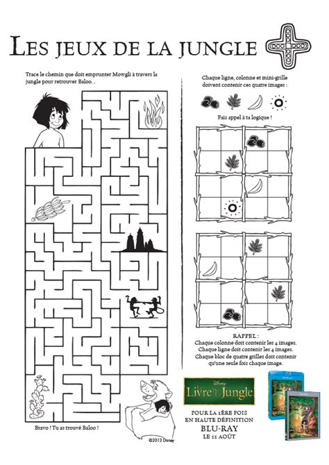 t駘馗harger jeux de cuisine activit 233 s jeu de labyrinthe dans le livre de la jungle