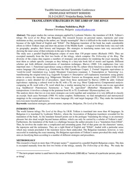 (PDF) Translation strategies in the LORD OF THE RINGS