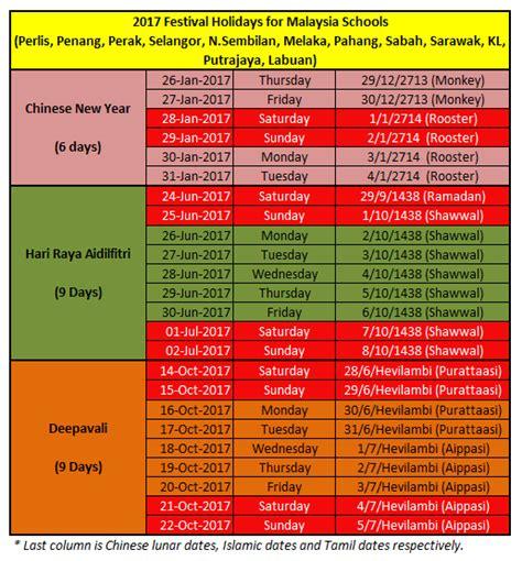 Calendar 2018 Deepavali Malaysia Schools Festival Holidays In 2017 New