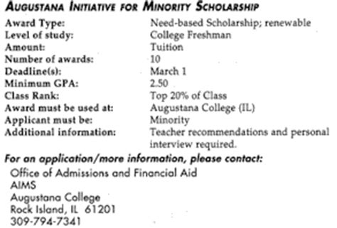 Mba Scholarships For Minority Students by Augustana Initiative For Minority Scholarship