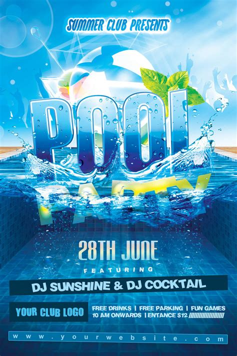 summer pool party flyer by dilanr on deviantart