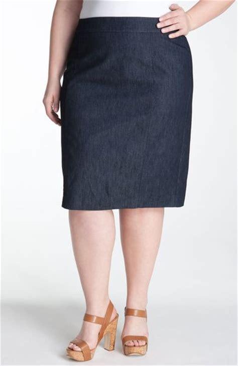 sejour stretch cotton pencil skirt in blue indigo