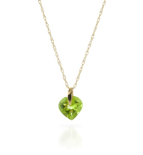 14k gold necklace with 1 15ct peridot pendant