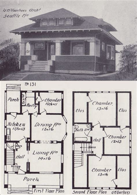 old house floor plans 1908 hip roofed craftsman bungalow plan vintage seattle