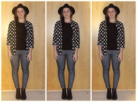 patterned tights topshop ellie w h m hat new look polka dot shirt h m boots