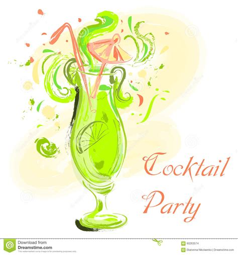 vintage cocktail party illustration cocktail with lime and umbrella vintage hand drawn vector