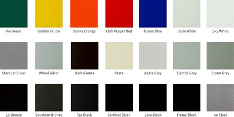 popular colors powder coating color charts georgia powder coating