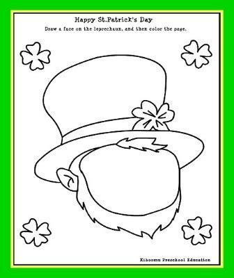 leprechaun pattern for kindergarten kids st patrick s day leprechaun printable activity