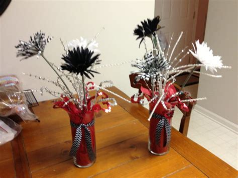 red black and white centerpieces grad party ideas