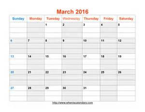 Word 2003 Calendar Template by March 2016 Calendar Printable Template Word Pdf Image