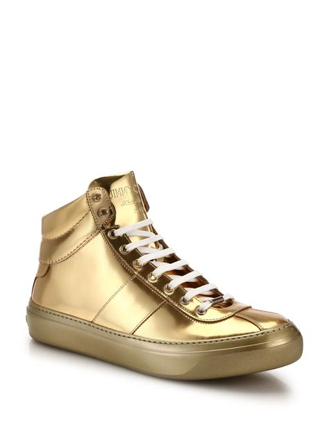 jimmy choo sneakers jimmy choo belgrave metallic high top sneakers in metallic