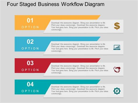 Four Staged Business Workflow Diagram Flat Powerpoint Design Presentation Powerpoint Images Powerpoint Workflow Diagram Template