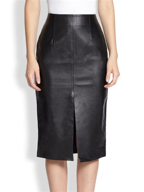 nicholas front slit leather pencil skirt in black lyst