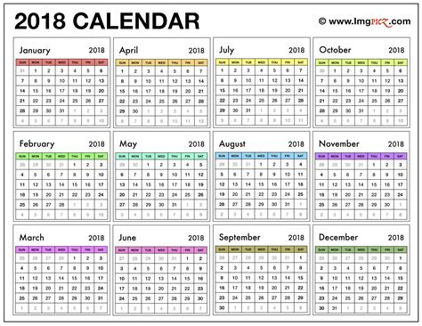 printable calendar with holidays 2018 2018 printable calendar template excel pdf ms word