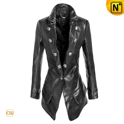 cool biker jackets slim fit black leather jackets hardware button for women