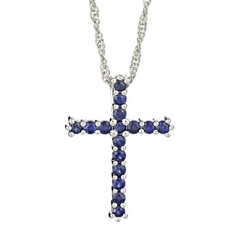 sterling silver genuine blue sapphire cross pendant