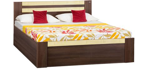 buy woody king bed with box storage in acacia maple