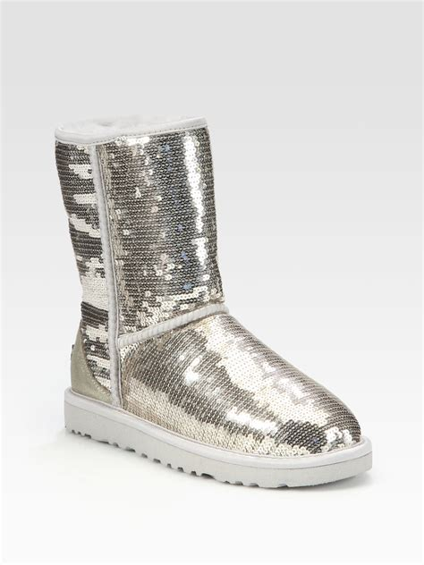 sequin boots ugg classic suede sequin boots in silver lyst