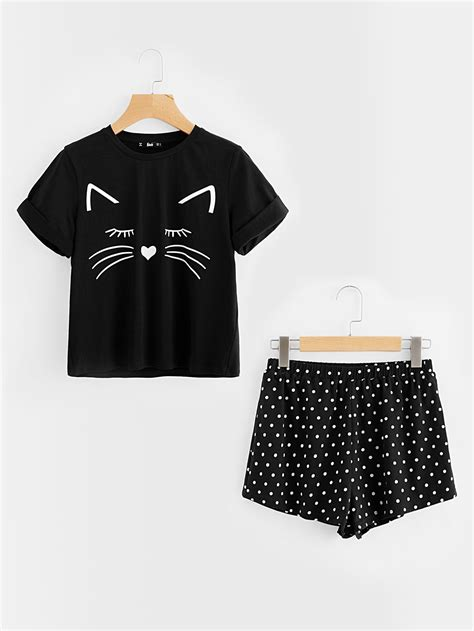 Set Cuffed Top Shorts cat print cuffed top and polka dot shorts pajama set