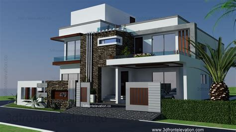 Front House Plans by 3d Front Elevation 500 Square Yards House Plan 3d