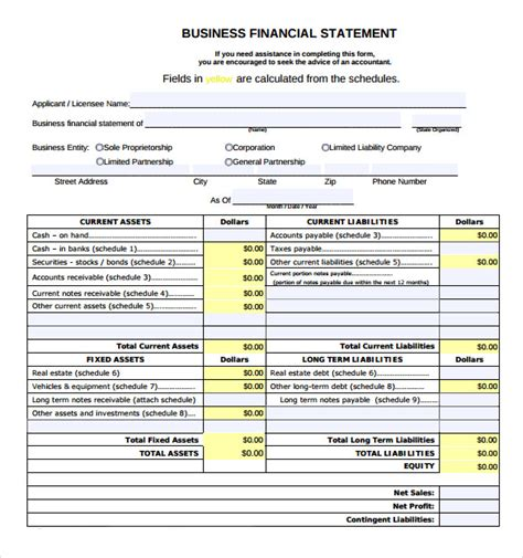 free business financial statement template sle business financial statement form 9