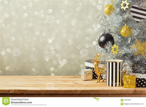 christmas background  christmas tree  wooden table