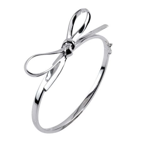 Bow Gemstone Bangle sterling silver hinged bow bangle heavy quality silver