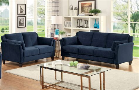 navy blue sofa and loveseat ysabel contemporary style navy blue flannelette sofa