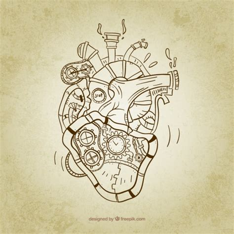 sketchy steampunk heart vector free download