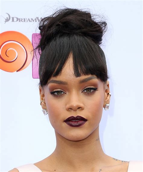 Rihanna Long Straight Casual Updo Hairstyle with Blunt Cut