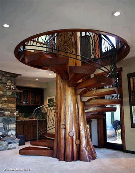 rustic staircase with spiral staircase built in