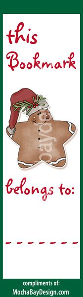 printable gingerbread bookmarks print christmas gingerbread star cookie bookmark