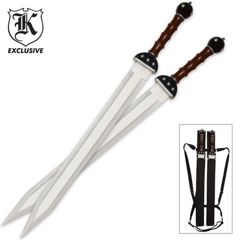 Gladiator Warrior Twin Sword Set with Double Shoulder