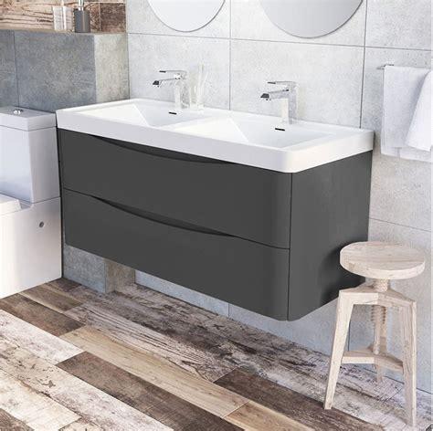 1200mm Wall Hung Vanity Unit by Motiv 1200mm Wall Mounted Grey Gloss Basin Vanity Unit
