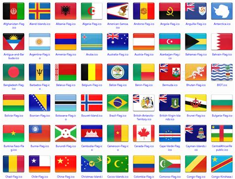 flags of the world by country country flags icon set countries in nanopics