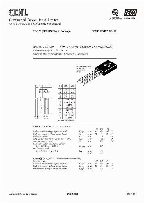 pinout transistor bd139 bd139 25 833657 pdf datasheet ic on line