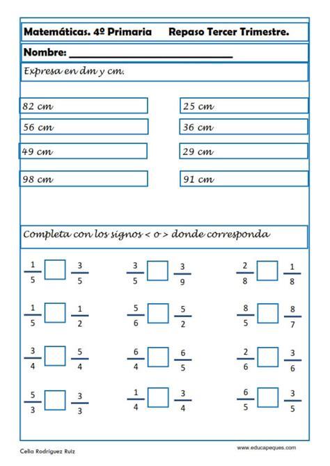 ejercicios de fracciones para cuarto de primaria fichas de matem 225 ticas cuarto primaria