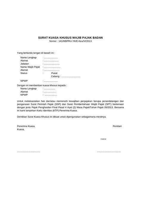 Contoh Surat Kuasa Pengurusan Pajak by Contoh Surat Kuasa Khusus Wajib Pajak Badan Dokumen Tips