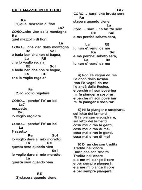 un mazzolin di fiori testo canzoni popolari con accordi