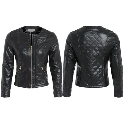 womens black pu faux leather collarless scoop neck quilted