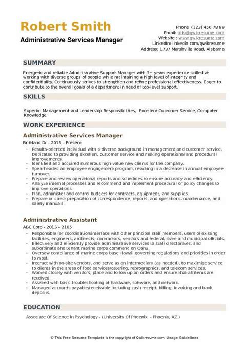 Administrative Manager Resume by Administrative Services Manager Resume Sles Qwikresume