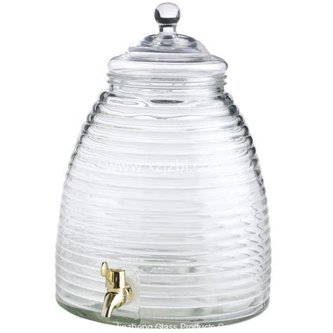 hexagonal drink dispenser with metal spout glass jar with