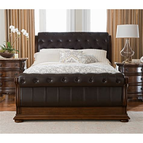 king sleigh bedroom set monticello 6 piece king sleigh bedroom set pecan