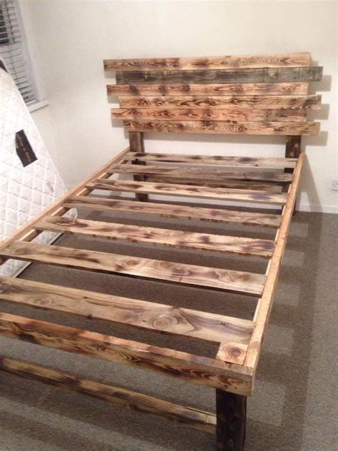 diy simple pallet bed frame diy pallet bed with headboard