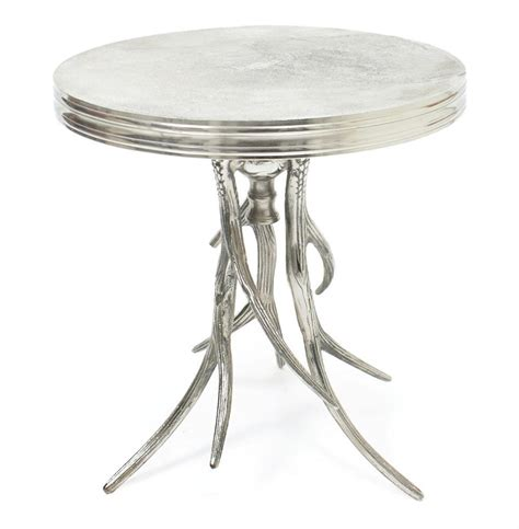 side accent tables vail modern rustic polished silver antler horn side table