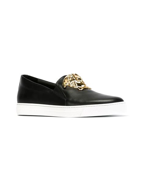 versace sneakers versace medusa slip on sneakers in black for lyst